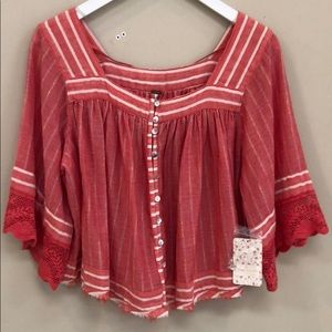 Free People NWT Red Multi Color Thread Top